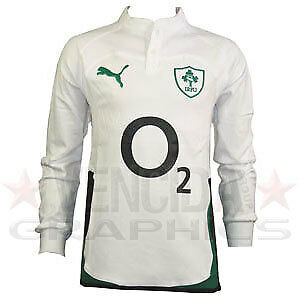 PUMA ireland away cotton long sleeve rugby shirt 09/10 - Small