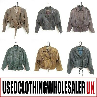 8 WOMEN'S 80's VINTAGE REAL LEATHER JACKETS WHOLESALE RETRO CLOTHING JOBLOT