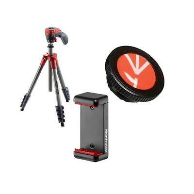 Manfrotto Compact Action Aluminum Tripod, Red W/Release Plate / Universal Clamp