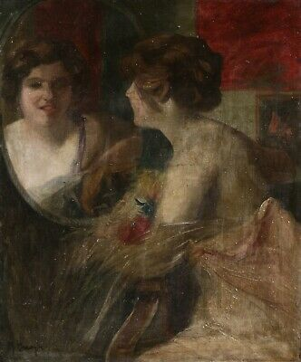 19th CENTURY FRENCH IMPRESSIONIST OIL CANVAS - WOMAN LOOKING IN MIRROR - SIGNED?