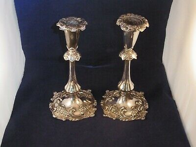LARGE PAIR VICTORIAN SILVER PLATED CANDLE STICKS JAMES DIXON 1800s CANDLESTICKS