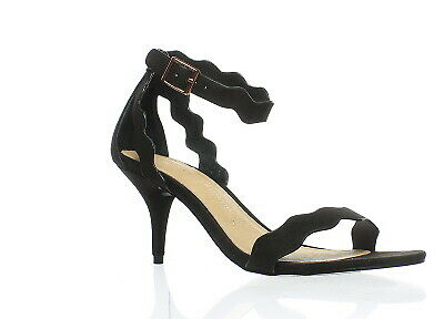 30470e9a950 Chinese Laundry Womens Rubie Micro Suede Black Suede Open Toe Heels Size 7.5