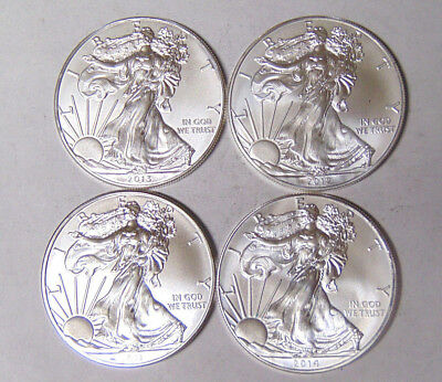 Lot of 4 American Silver Eagles 2011 2012 2013 2014 1 oz .999 Silver Dollars