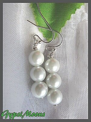 Pearl Earrings Czech glass pearls stacked CREAM silver plated dangle small drop