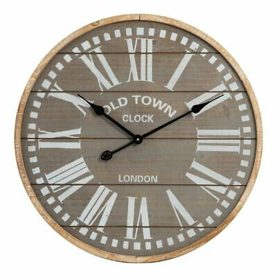 Extra Large Wall Clock Roman Dial 60cm Wooden Face