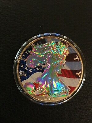 2002 Colorized Ultra Cameo American Silver Eagle Dollar Coin 1 Oz BU