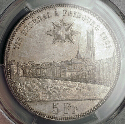 1881, Switzerland, Fribourg. Silver Shooting Thaler (5 Franken) Coin. PCGS MS62!