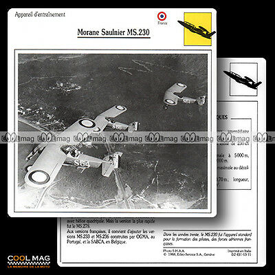 #003.11 MORANE SAULNIER MS 230 - Fiche Avion Airplane Card
