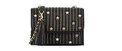 e0b3d913c105 Tory Burch Women s Star Stud Black Leather Gold Convertible Shoulder Bag