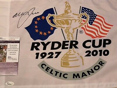 Graeme McDowell signed 2010 Ryder Cup Celtic Manor pin flag JSA COA Authentic