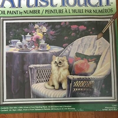 "Vintage Oil Paint By Number Kit AFTERNOON TEA Kitten 16"" X 20"" NIB USA"