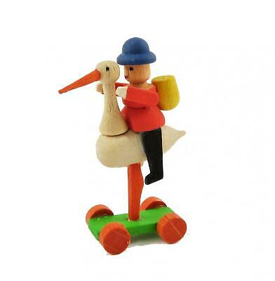 Dolls House Vintage Wooden Ornament Man Riding Nursery Toy School Accessory