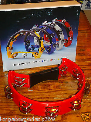 "Red 10"" Double Tamborine Tambourine Rhythm Band Stage Church Recording Music Rd"