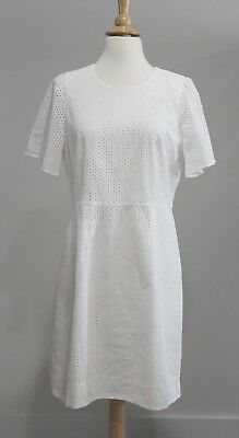 NWT J CREW Sz 10 White FLUTTER SLEEVE DRESS IN EYELET Style F1724 Cotton Lined