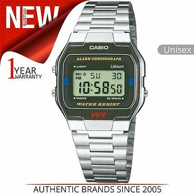 Casio A163WA-1QES Unisex Classic Digital Watch│Square Dial│Stainless Steel Band