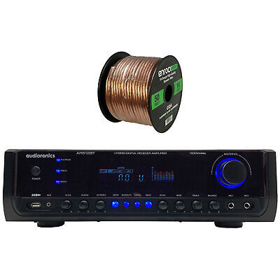 Audioronics 1500 Watt Hybrid Digital Stereo Receiver Amplifier, Speaker Wire