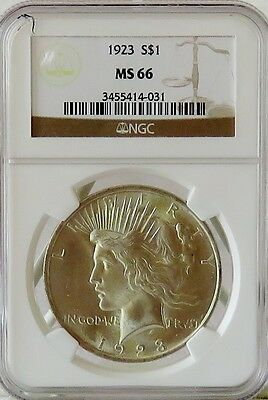 1923 PEACE DOLLAR $1 * NGC MS66 * Brilliant Surfaces *
