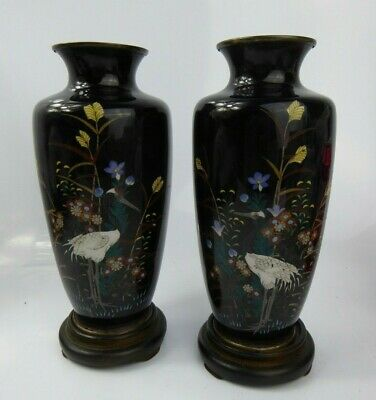 Japanese Antique Pair of Cloisonne Vases & Stands Signed - Meiji Cranes Superb