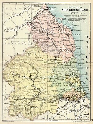 Northumberland county 1885 coloured antique map in 10 x 12 inch mount SUPERB