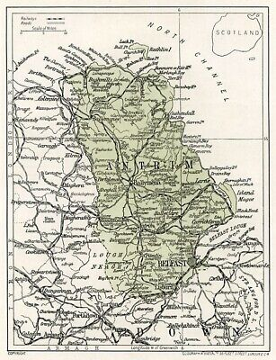 1923 map of Ireland: County Antrim ready-mounted antique print SUPERB