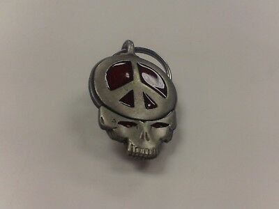 SKULL WITH RED PEACE SIGN CIGARETTE TOBACCO ROACH CLIP KEYCHAIN RETRO 70s