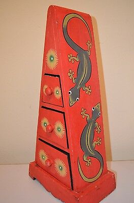 Lizard Gecko Painted Children Hippie Mexican Folk Art Drawer Cabinet VTG 70s 80s