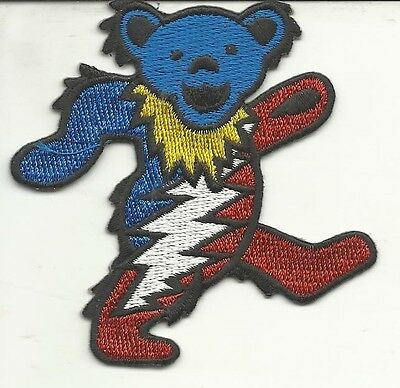 Grateful Dead Lighting Bolt Red White And Blue Jerry Bear Embroidered Patch