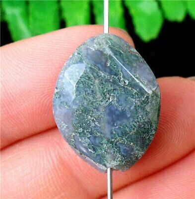 Natural Green Moss Agate Heigth Hole Marquise Pendant Bead 20x16x7mm AU35411