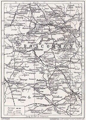 1923 map of Ireland: County Roscommon antique ready-mounted print SUPERB