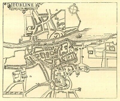 Dublin centre, map from 1610, antique engraving 1880s ready mounted