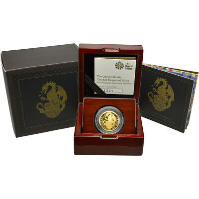 2018 Great Britain Gold Queen's Beasts - Red Dragon Proof £25 - 1/4 oz in OGP