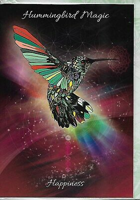 Hummingbird Magic - Happiness Greeting Card By Anne Stokes Blank Greeting Card