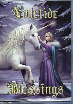 Yuletide Blessings Pure Magic Greeting Card By Anne Stokes - Blank Greeting Card