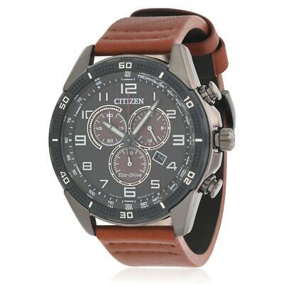 Citizen Men's Brown Leather Band IP Steel Case Eco-Drive Watch AT2447-01E