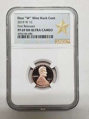 "2019 W First ""W"" Mint Mark Lincoln Cent NGC PF69 RD Ultra Cameo First Releases"