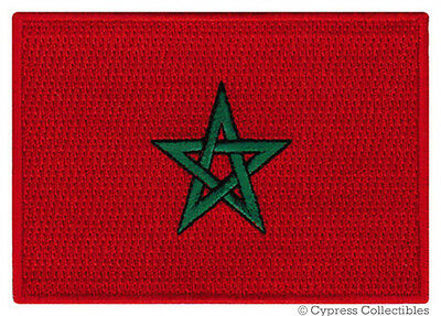 MOROCCAN NATIONAL FLAG PATCH KINGDOM OF MOROCCO iron-on embroidered applique NEW