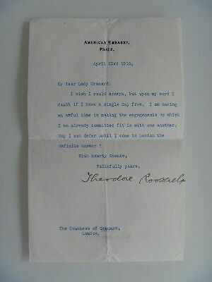 56a55709e806 Theodore Roosevelt 1910 Typed Letter Signed - Sent From Paris - Man In The  Arena