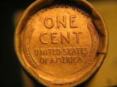 1909 VDB REVERSE & 1909 OBVERSE ENDS IN 50 LINCOLN WHEAT CENT ROLL! 50%+PRE 40s!