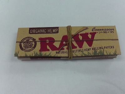 Raw Cigarette Rolling Unrefined Hemp Paper Connoisseur 1 1/4 Size With Tips