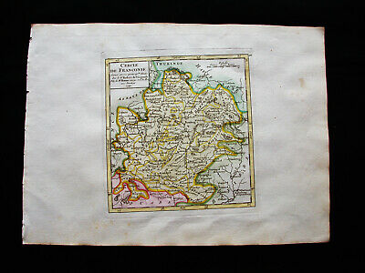 1749 VAUGONDY - orig map: GERMANY, FRANCONIA, NUREMBERG FURTH WURZBURG HAILBRONN