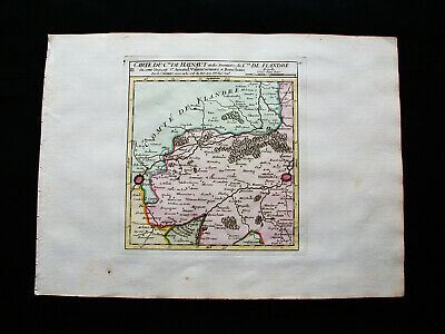 1749 VAUGONDY - original map of NETHERLANDS, HOLLAND, BELGIUM, HAINAUT, FRANCE..
