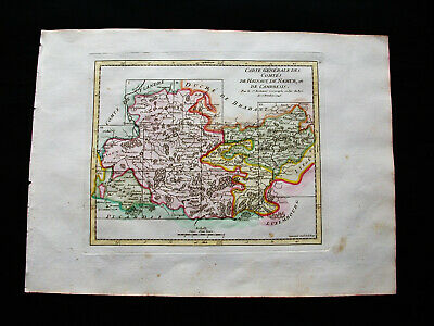 1749 VAUGONDY - original map: NETHERLANDS, BELGIUM, MONS, WALLONIA NAMUR CAMBRAI