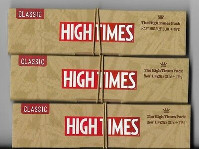 RAW x HIGH TIMES CLASSIC KING SIZE SLIM ROLLING PAPERS WITH TIPS - 3 PACKS