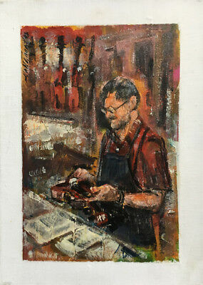 Violin Maker Workshop  14 x 10 in. Oil on canvas Hall Groat Sr.