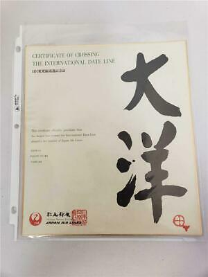 = Japan Air Lines Official Certificate Of Crossing The International Date Line
