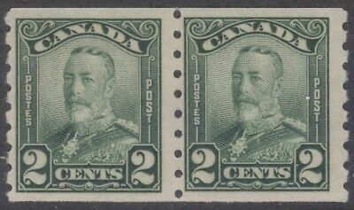 CANADA 161 1929 2c GREEN KGV SCROLL COIL PAIR MNH