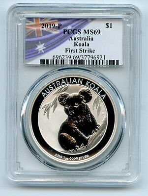2019 P $1 Australia 1oz Silver Koala PCGS MS69 First Strike Flag