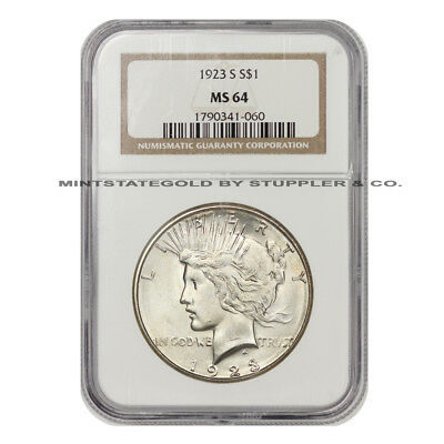 1923-S $1 Silver Peace Dollar NGC MS64 choice graded San Francisco minted coin