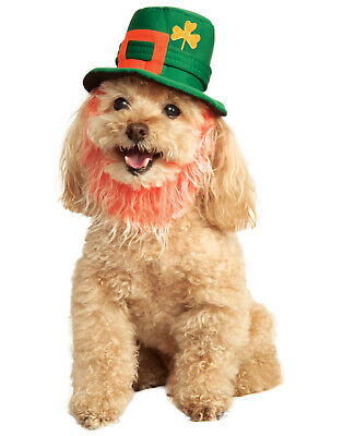 Saint Patricks Day Pet Leprechaun Green Dog Cat Costume Hat With Beard-M-L