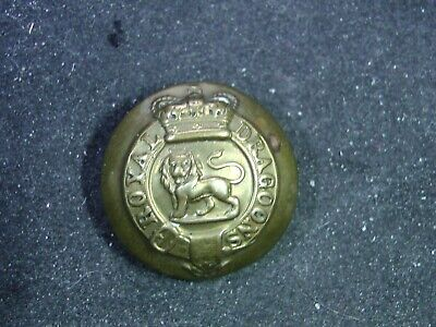 British Army 1st ROYAL DRAGOONS QVC 24mm BRASS BUTTON 1877-1901 Smith & Wright